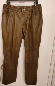Vintage Gap khaki green 100% leather pants 14 x 31